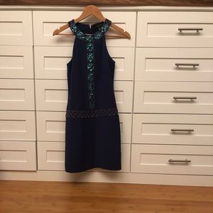 Dress with beading detail. Halter top.